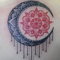 Lovely black red sun and moon mandala tattoo