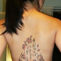 Lovely buddhist and lotus tattoo on back for girls