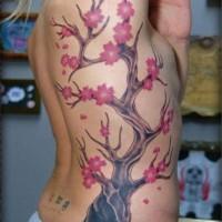 Lovely cherry blossom tree tattoo on ribs