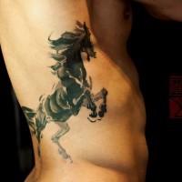 carino cavallo scuro tatuaggio su costolette da Joey Pang