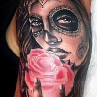 Lovely day of the dead girl with pink rose tattoo