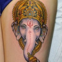 Lovely ganesha head tattoo by Erich Foster