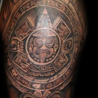 Lovely god sun aztec tattoo on shoulder