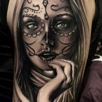 Lovely gray ink santa muerte girl tattoo on shoulder