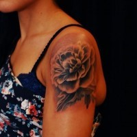 bel fiore peonia tatuaggio sulla spalla