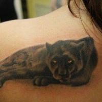 incantevole riposo pantera tatuaggio sulla scapola