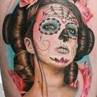 Lovely santa muerte geisha tattoo