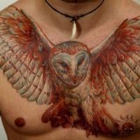 bello guffo impennato tatuaggio sul petto per uomo