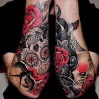 Lovely vivid colors sugar skull tattoo on forearm