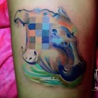Schönes Aquarell Nilpferd Tattoo