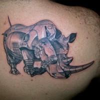 rinoceronte macchina di ferro tatuaggio 3d
