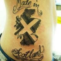bel idea scritto made in Scotland tatuaggio su lato