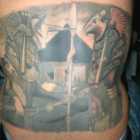 Magnificent 3D like colored various Egyptian gods tattoo on back