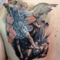 Magnificent antic painting like colored angel warrior tattoo on back with demon