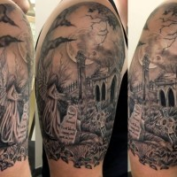 Magnificent black ink dark cemetery tattoo on shoulder with angel and dark moon