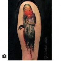 Magnificent colored shoulder tattoo of ghost stylized with dark forest