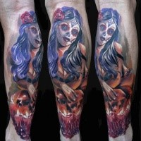 Magnificent large colored Mexican traditional style leg tattoo of woman portrait with human skulls