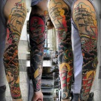 Magnificent painted and colored nautical themed tattoo on sleeve