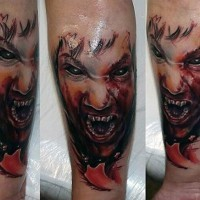 Magnificent painted bloody vampire tattoo on arm