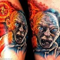 Tatuaje  de personaje de película señor de los Anillos bien dibujado