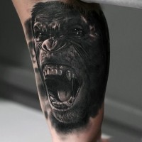 Magnificent very detailed black and white angry gorilla tattoo on arm