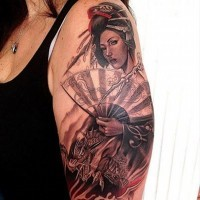 Magnificent very detailed colored Asian woman tattoo on shoulder combined with fantasy dragon