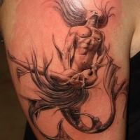 Male and female mermaids making love original idea of shoulder tattoo