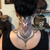 Marvelous accurate painted colored Baroque style tattoo on neck and upper back
