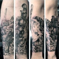 Marvelous black and white detailed medieval knight horse rider tattoo on forearm with old castle