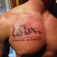 Marvelous black ink chest tattoo of ripped snake and lettering