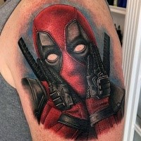 Marvelous colored shoulder tattoo of funny Deadpool