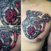 Tolles buntes im biomechanischen Stil Brust Tattoo mit menschlichem Herzen