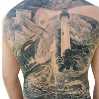 meraviglioso disegno massiccio nero e bianco a tema nautica con barca polipo e faro tatuaggio pieno di schiena