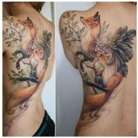 Marvelous painted and colored great fox with feather tattoo on shoulder
