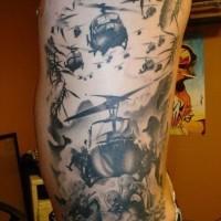 Marvelous painted massive military black ink tattoo on side