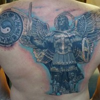 Marvelous very detailed massive angel warrior tattoo on whole back combined with little Asian symbol