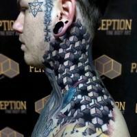 massiccio bello 3D colorato tatuaggio geometrico su collo
