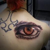 massiccio 3D realistico grande occhio tatuaggio su spalla