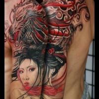 Massive amazing colored half sleeve tattoo of Asian geisha and fantasy dragon