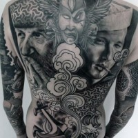 Massive black and white detailed sailors with anchor and waves tattoo on whole back