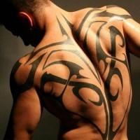 massiccio bianco e nero tribale stile tatuaggio pieno di schiena