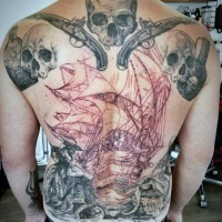 Massive black and white unfinished pirate themed tattoo on whole back