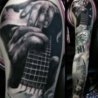 Massive Multicolored Music Themed Tattoo On Sleeve Tattooimagesbiz