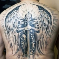 Massive multicolored very detailed whole back tattoo of hole angel warrior