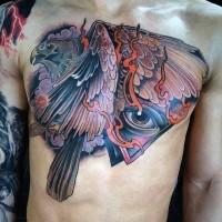 massiccio mistico disegno multicolore aquila con occhio Massonico tatuaggio su petto
