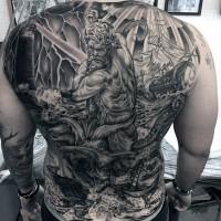 massiccio a tema  nautica molto dettagliato Poseidone con nave e polipo tatuaggio pieno di schiena