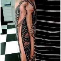 Mechanism and bones tattoo on arm