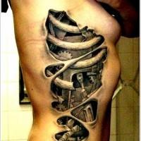 Mechanism tattoo on ribs for girls