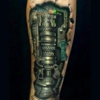 Mechanism under skin tattoo on arm