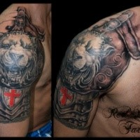 Medieval style colored shoulder tattoo of armor with lion head